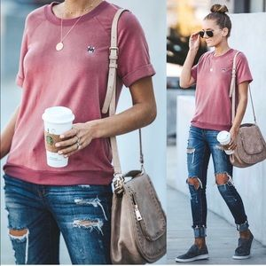 English Factory | Frenchie Mauve Short Sleeve Top